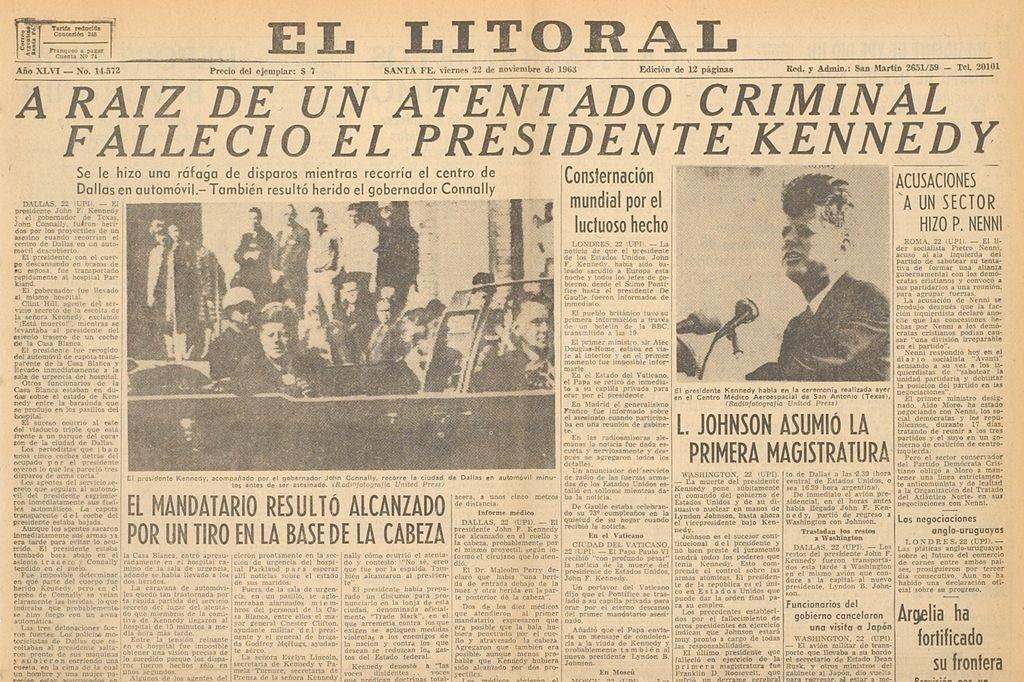 El mismo viernes 22 de noviembre de 1963, El Litoral le dedica toda la tapa al asesinato de J.F Kennedy <strong>Foto:</strong> Archivo El Litoral