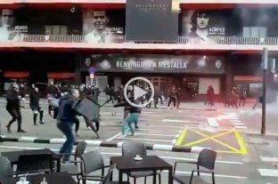 Video: enfrentamiento entre barras de Barcelona y Valencia