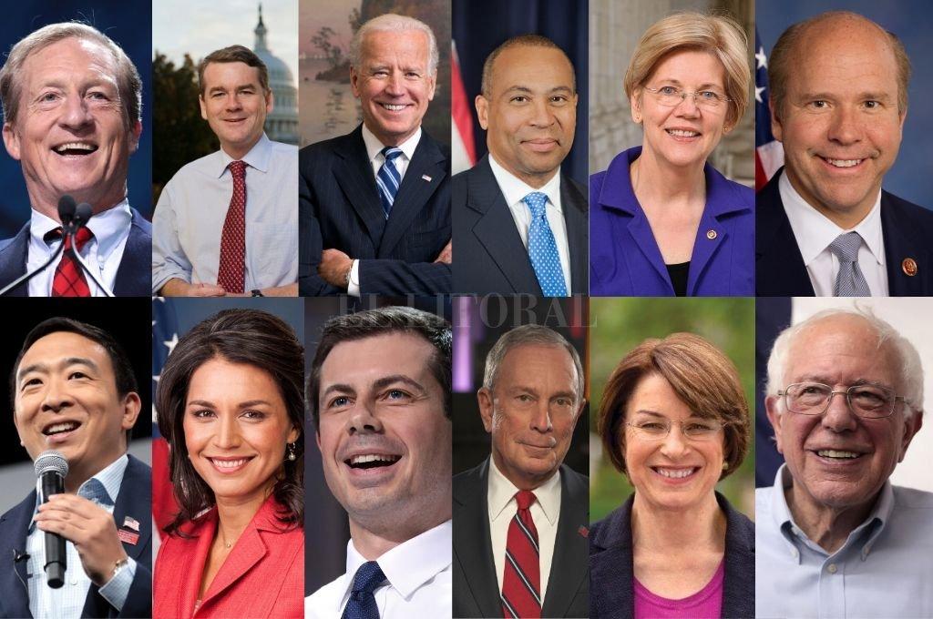 De Izquierda a derecha, arriba: Tom Steyer, Michael Bennet, Joe Biden, Deval Patrick, Elizabeth Warren y John Delaney. Abajo: Andrew Yang, Tulsi Gabbard, Pete Buttigieg, Michael Bloomberg, Amy Klobuchar y Bernie Sanders.   <strong>Foto:</strong> Internet y Redes