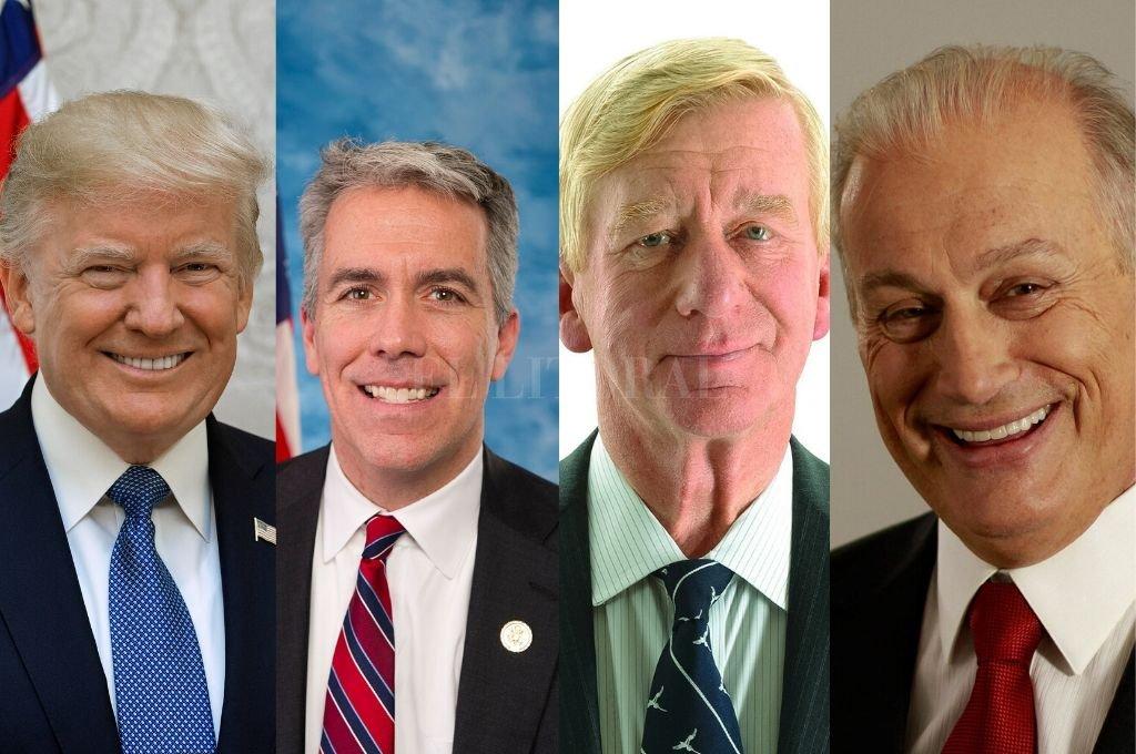 De izquierda a derecha: Donald Trump, Joe Walsh, Bily Weld y Rocky de La Fuente.   <strong>Foto:</strong> Internet y Redes