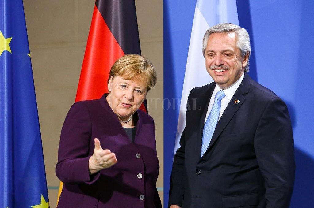 Merkel y Fernández. Crédito: Telam