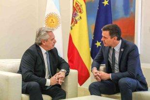 Alberto Fernández mantuvo un encuentro con Pedro Sánchez en Madrid