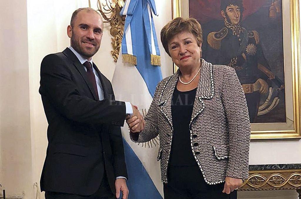 Martín Guzmán y Kristalina Georgieva. Crédito: Telam