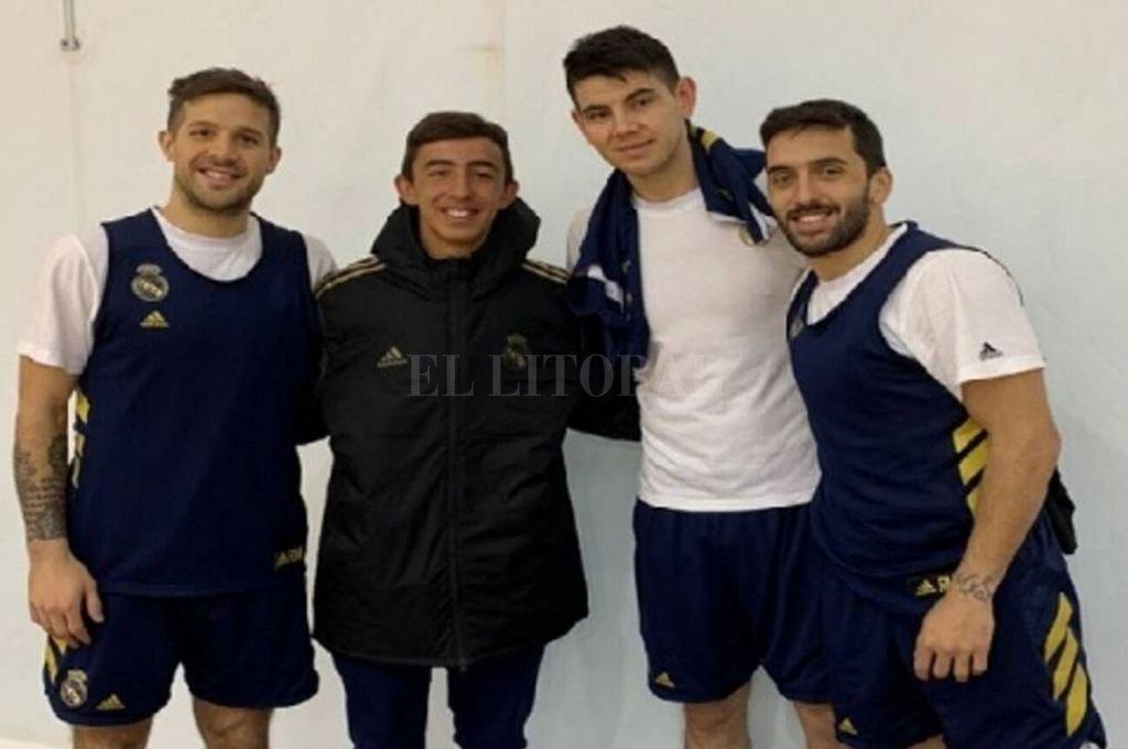 Viviendo un sueño. Franco Zuscovich y las estrellas argentinas en el Real Madrid.    Crédito: Gentileza