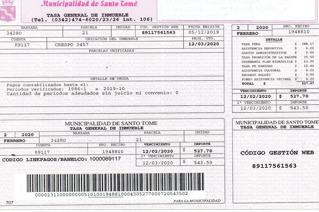 Boleta. Factura de la Tasa General de Inmuebles, emitida por el municipio santotomesino. <strong>Foto:</strong> Archivo El Litoral