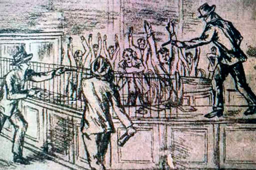 Bosquejos que formaron parte de la investigación del atraco al Nuevo Banco Italiano. Crédito: Archivo.