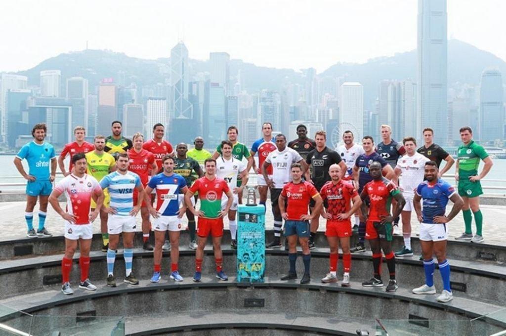 Hong Kong 2019. Los capitanes, en la tradicional foto de presentación del seven más importante del mundo.   Crédito: Archivo El Litoral