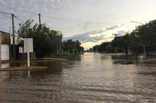 El norte de la provincia de Santa Fe afectado por las lluvias - Una calle de la localidad de San Cristobal -