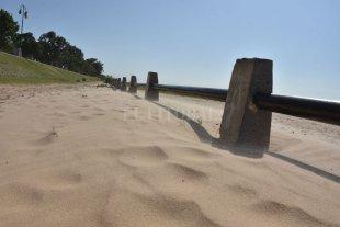 Costanera Oeste: el paseo peatonal se tapó de arena - ¿Vereda? No se ve, porque la tapó la arena. -