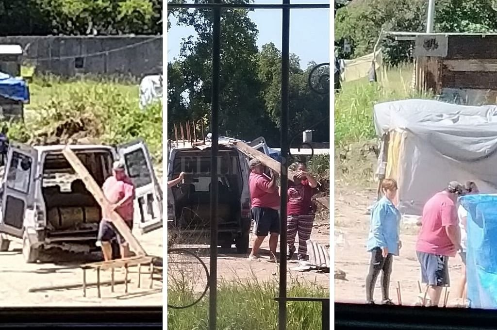 A pesar de la orden judicial, la usurpación de terrenos se consolida en B° Transporte - Imágenes tomadas por vecinos este sábado por la mañana, cuando llegaban los materiales para el armado de ranchos. -