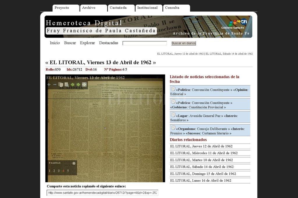 Así veían los usuarios de la Hemeroteca Digital de la Provincia las páginas de viejas ediciones de El Litoral. El sitio no funciona desde mediados de enero. Crédito: Archivo El Litoral