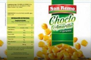 ANMAT retiró lotes de choclo amarillo entero en lata marca San Remo