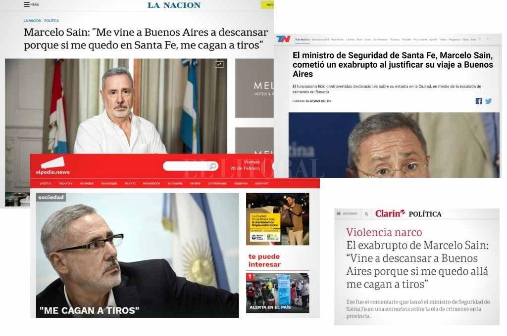 Los medios nacionales se hicieron eco de las declaraciones del ministro Saín. Crédito: Capturas.