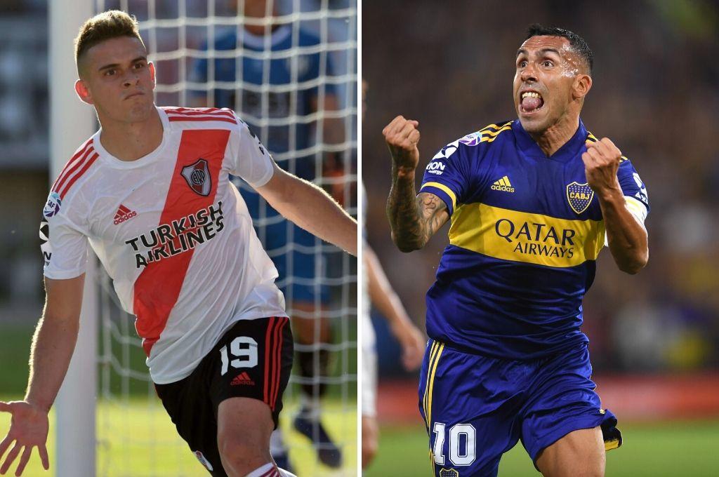 Borre y Tévez, jugadores destacados de River y Boca. Crédito: Archivo