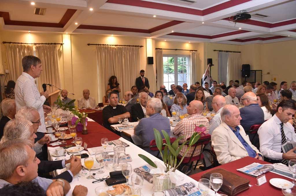 Diálogo. El intendente Emilio Jatón expuso su plan de gobierno a empresarios y referentes de la sociedad civil.  Crédito: Flavio Raina
