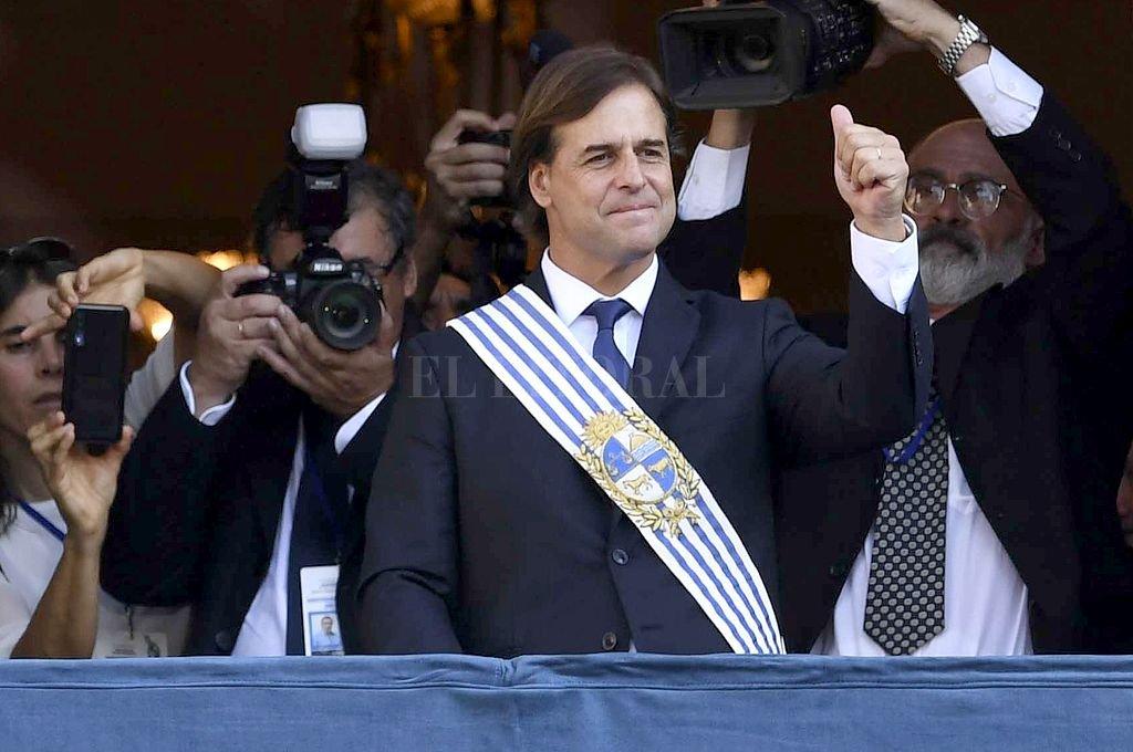 Luis Lacalle Pou el día de su asunción. Crédito: Telam