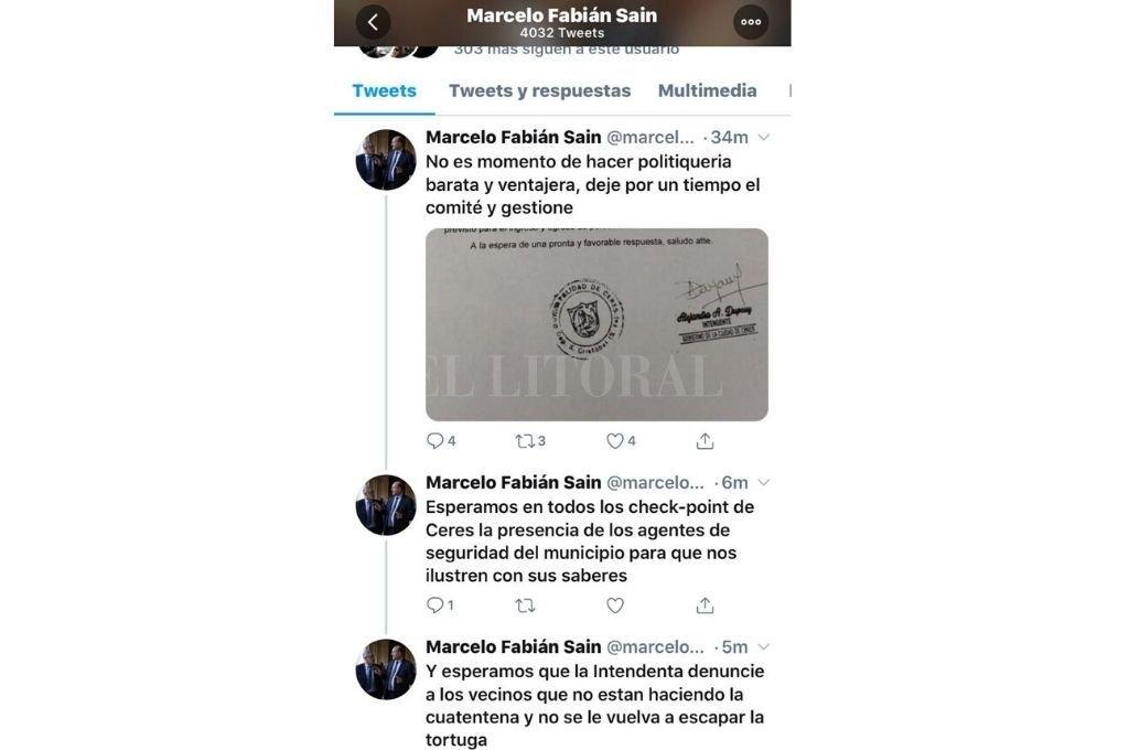 La cuenta del ministro Sain en Twitter Crédito: Captura de Twitter