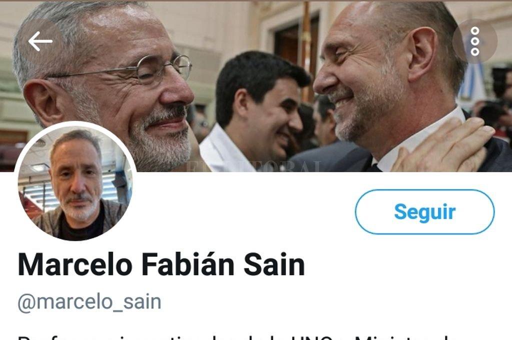 El Twitter del ministro de Seguridad Marcelo Sain Crédito: Captura de Twitter