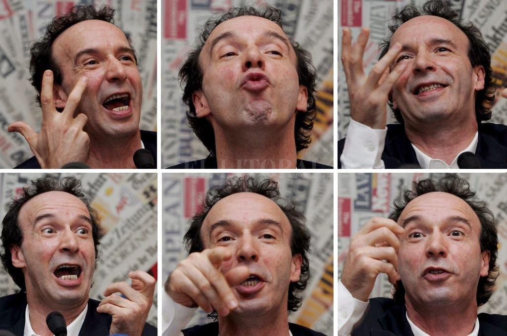 Roberto Benigni. Hay humor del bueno en el baile irreverente y la morisqueta permanente.  Crédito: Archivo El Litoral