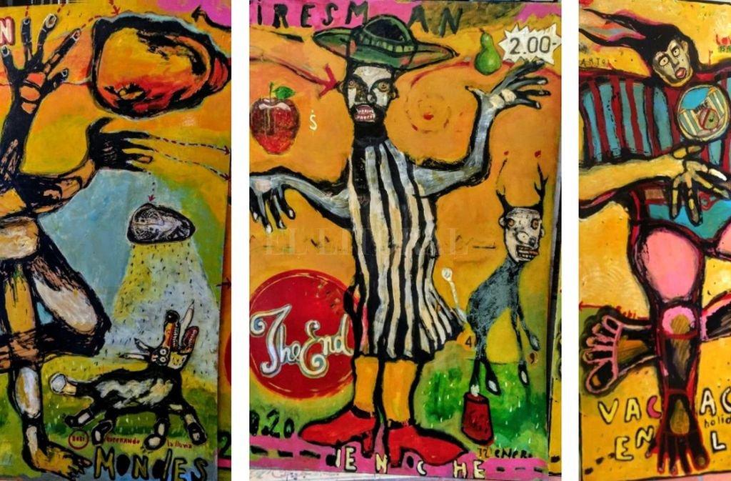 """Tríptico """"Sin Fin / Fireman / Vacaciones"""", parte de la muestra de Carlos Monge. Crédito: Gentileza MAC"""