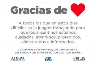 Los medios de todo el país se unen para agradecer a quienes trabajan por todos los argentinos
