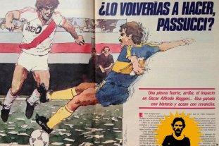 """""""Hubiese sido un traidor si jugaba en River o en Colón"""" - Este fue el tratamiento que hizo la revista El Gráfico, con una recreación en dibujo de aquella famosa jugada en el Monumental, que todo el ambiente del fútbol recuerda. -"""