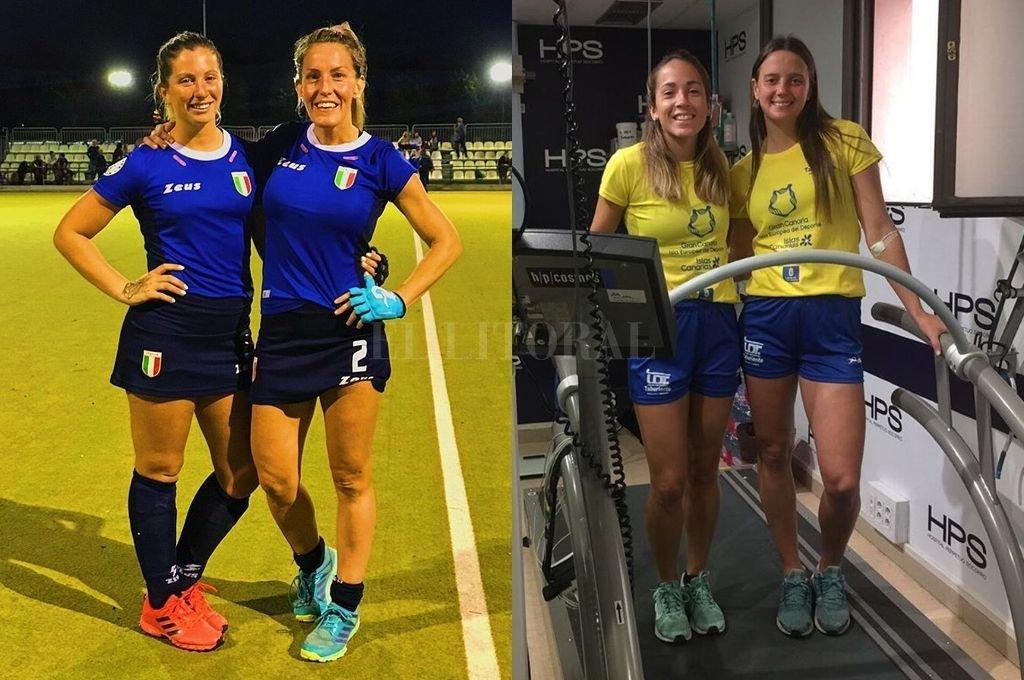 """""""Cande"""" Carosso y """"Pupi"""" Traverso con la camiseta de la selección de Italia. En las Canarias. """"Stefi"""" Antoniazzi junto a Romina Zanni Braccio, ex jugadora de River. Crédito: Gentileza"""