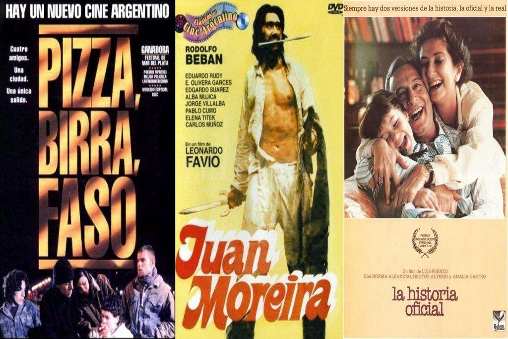 """""""Pizza, birra, faso"""", """"Juan Moreira"""" y """"La historia oficial"""". Tres films claves de distintas épocas que marcaron a fuego al cine argentino. Crédito: Gentileza producción"""