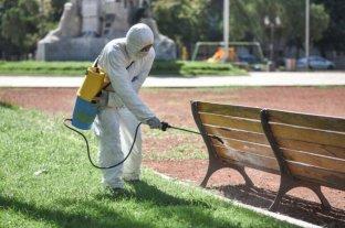 En Santa Fe desinfectan garitas de colectivos y las principales avenidas