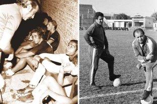 El agua y el aceite con algo  en común: jugaban al fútbol - El Gitano Juárez le habla a Trossero, Cococho Alvarez, Baley y Hugo Coscia. Fue en un amistoso, antes del comienzo de la temporada en 1975. (Der) Juan Eulogio Urriolabeitia y la tribuna norte de fondo. Fue en el 77, cuando el Vasco volvió al club para armar otra vez un muy buen equipo. (Izq) -