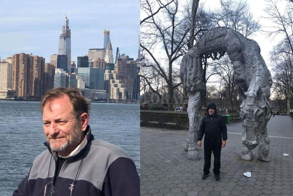 Tissembaum frente al skyline neoyorquino y en el Central Park, cuando todavía no estaba recluido en aislamiento. Crédito: Gentileza Rubén Tissembaum