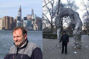 Un santafesino varado en Nueva York - Tissembaum frente al skyline neoyorquino y en el Central Park, cuando todavía no estaba recluido en aislamiento. -