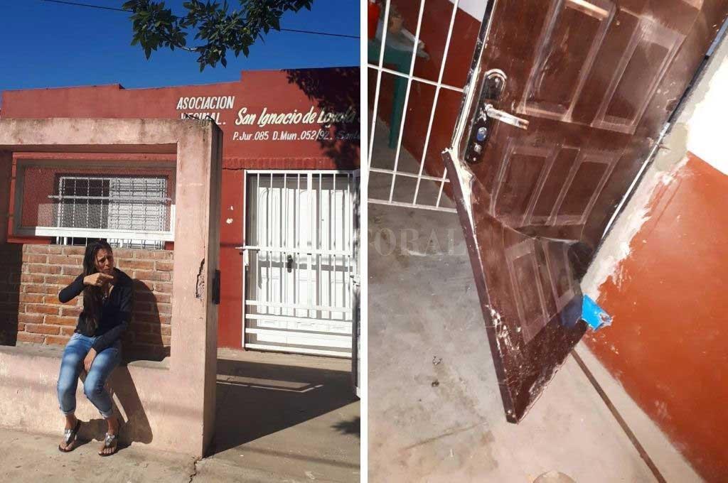 """Los daños en la vecinal fueron importantes y conseguir una nueva puerta parece una """"misión imposible"""", dijeron sus voceros. Crédito: Gentileza"""