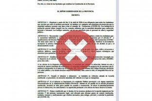 Es falso que el decreto que obliga al uso de barbijos sea de Santa Fe -
