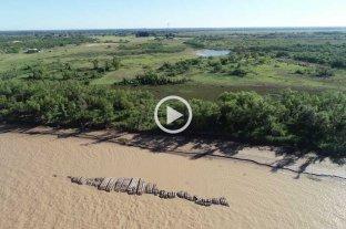 Por la bajante del Río Paraná, volvió a aparecer la malla protectora del túnel