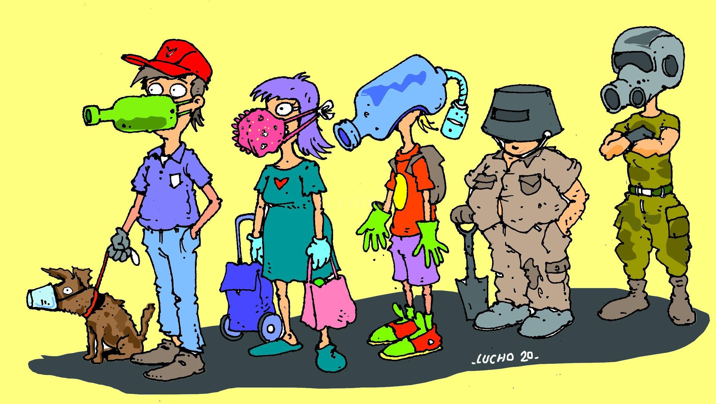 Barbijos, tapabocas y máscaras. La imaginación creativa al poder, para poder estar mejor. Crédito: Ilustración Luis Dlugozewski