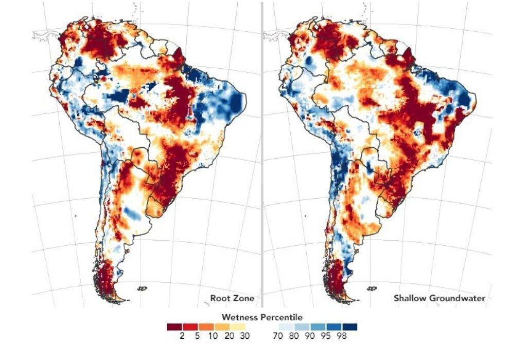 La imagen a la izquierda indica el estado de humedad del suelo; la derecha, las aguas subterráneas poco profundas, las dos correspondientes a lecturas efectuadas el 30 de marzo último. Crédito: earthobservatory.nasa.gov