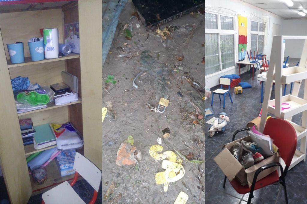 """Los delincuentes hicieron un """"desastre"""". En el piso dejaron un martillo y un punzón, las herramientas que utilizaron para violentar las aberturas. Crédito: Gentileza"""