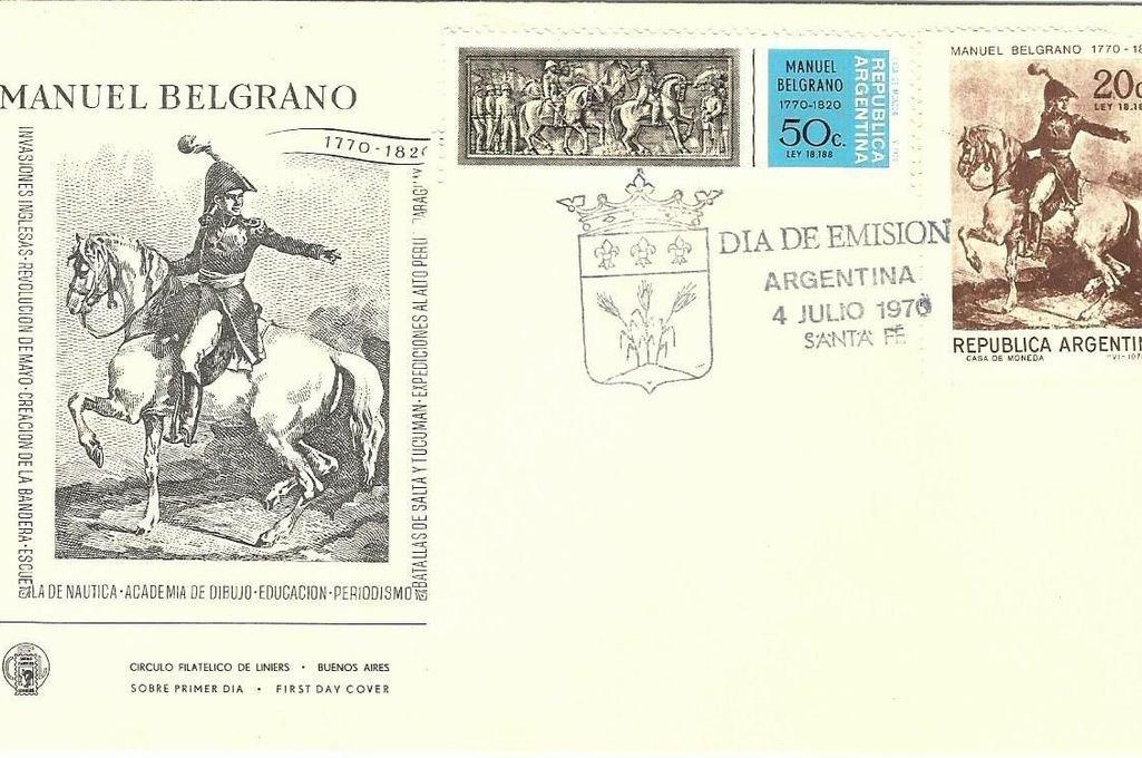 Estampillas conmemorativas del 200º Aniversario del nacimiento de Belgrano (1770 - 1970). Sobre con sello del día de emisión (4 de julio de 1970). Crédito: Gentileza