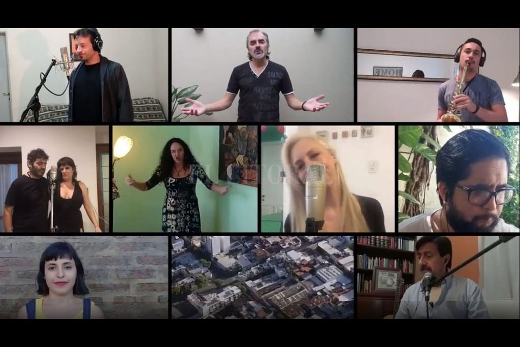 """Algunos de los artistas que se sumaron a la iniciativa, junto a imágenes aéreas tomadas por Fernando """"Coto"""" Nicola del área multimedia de El Litoral. Crédito: Captura de pantalla"""