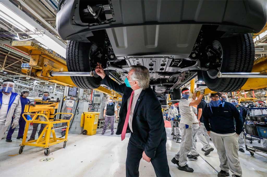 Este martes el presidente visitó una planta automotriz en Tigre Crédito: Gentileza