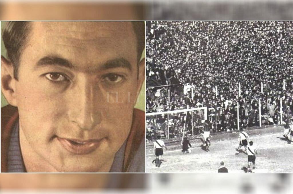 La imagen de Isidro Lángara y el festejo de uno de sus goles en aquél mayo inolvidable en el Gasómetro. Crédito: Archivo El Litoral
