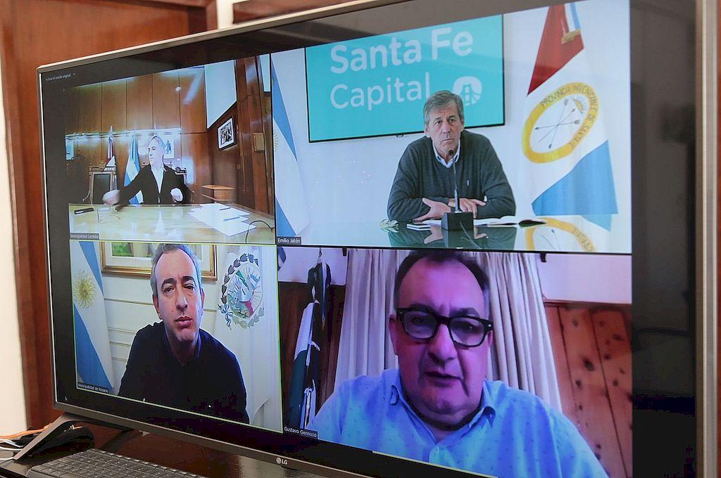 Los cuatro mandatarios, por videoconferencia y unidos en el mismo reclamo. Crédito: Gentileza