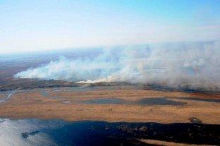 Con un helicóptero hidrante buscan combatir los incendios en islas frente a Rosario - La zona de islas frente a Rosario afectada  por incendios -