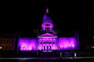 """El Congreso se iluminó de violeta en apoyo a """"Ni una menos"""""""