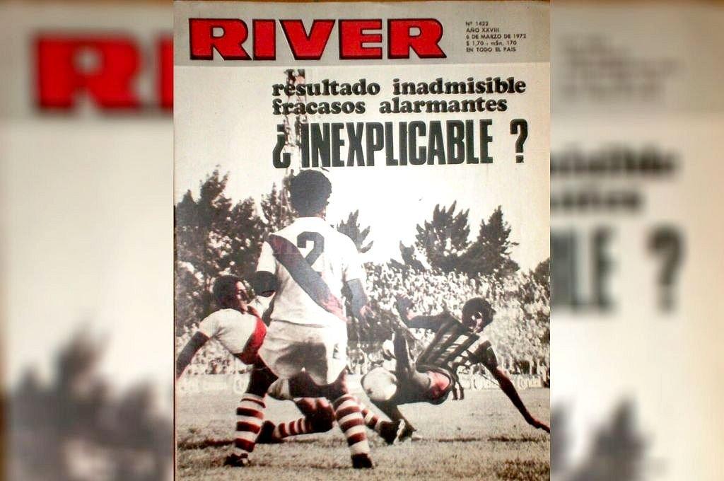 La tapa de la revista River, de entonces, con una foto de ese partido en cancha de Colón y el gol del Flaco Landucci, quien luego vistió la camiseta de Unión. Crédito: Archivo El Litoral