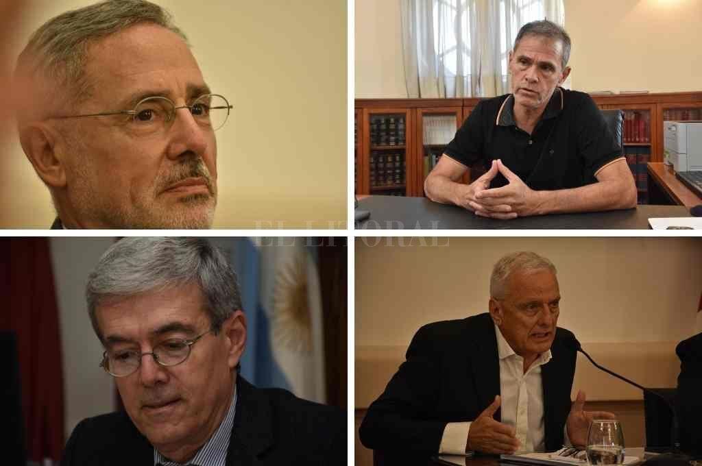 Marcelo Sain (Seguridad), Esteban Borgonovo (Gobierno), Walter Agosto (Economía) y Carlos Parola (Salud) Crédito: Archivo El Litoral