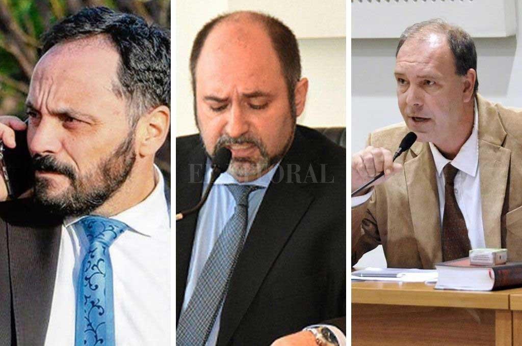 Fiscal Adrián Spelta (izq) - Juez Gustavo Perez Urrechu (centro) - Juez Hernán Postma (der) Crédito: El Litoral