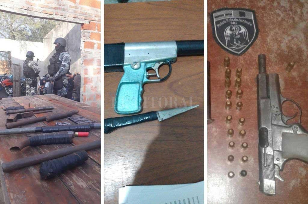 Algunas de las armas que fueron incautadas por el personal policial Crédito: El Litoral