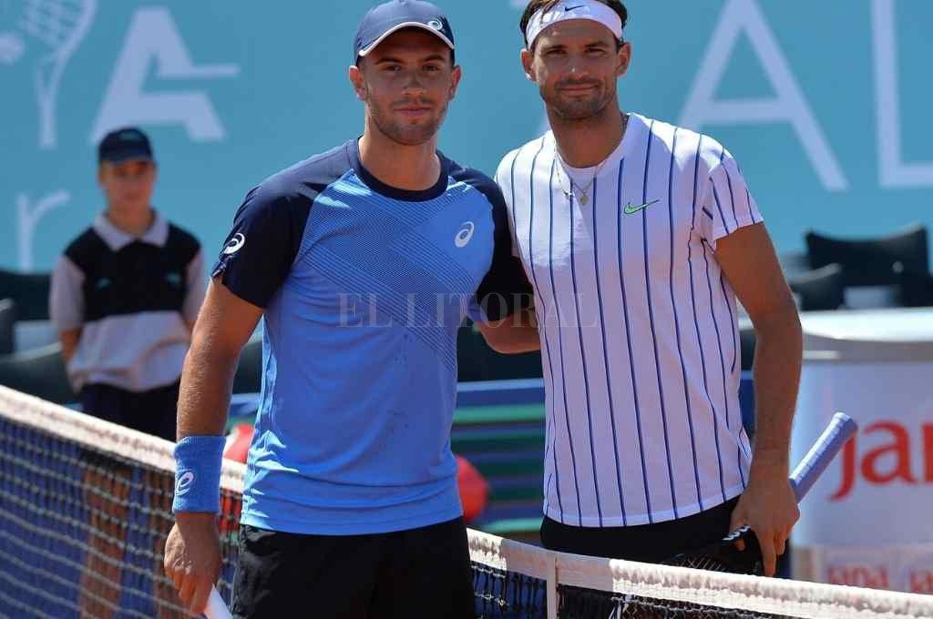 Coric y Dimitrov, antes de jugar la semifinal el sábado en Croacia. Ambos dieron positivo de Covid-19.    Crédito: Gentileza